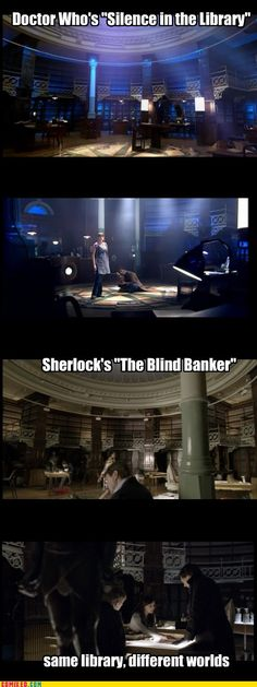 Same Library, Different Worlds. And it only took me watching each episode several times to catch it . . .