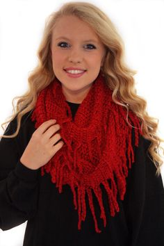 Love RED Knit Scarf - Love RED Knit Infinity Scarf.  - available online at http://www.envyboutique.us/shop/love-red-knit-scarf/ #Envy #Boutique #chic #fashion #scarf #trendy