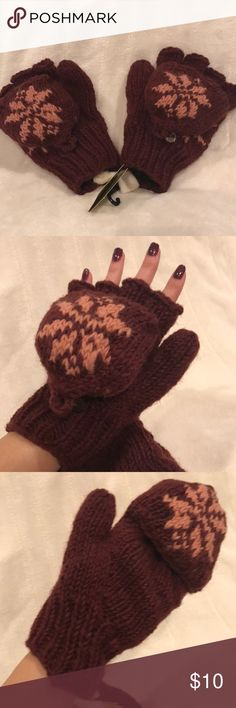 NWT Fingerless Mittens NWT cold weather fingerless mittens, Very Warm!! Made in Nepal, beautiful maroon with pink snowflakes ❄️ Glittens Accessories Gloves & Mittens