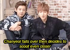 #Baekyeol xD (GIF) ~ awwn xd that fall is too cute ♡ haha