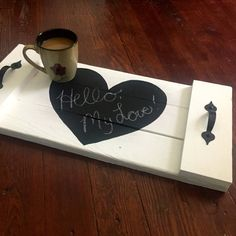 Chalkboard pallet tray announcement tray by AmbersWoodenBoutique