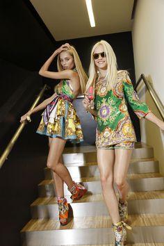 Vika Falileeva and Ginta Lapina backstage at D&G S/S 2012.