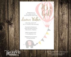 It's a Girl Elephant Baby Shower Invitation Printable