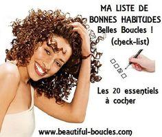 """Vérifiez votre routine capillaire en cochant la liste des 20 bonnes habitudes """"belles boucles"""" !http://beautiful-boucles.com/avez-vous-de-bonnes-habitudes-capillaires-cochez-la-liste-des-belles-boucles/"""