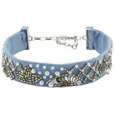 Mignonne Gavigan Women's Amanda Embellished Denim Choker ($99) ❤ liked on Polyvore featuring jewelry, necklaces, denim, choker necklace, denim jewelry, blue jewelry, blue necklace and choker jewellery