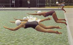 Alex Colville Canadian Artist - The Swimming Race, 1958 Alex Colville, Canadian Painters, Canadian Artists, Ottawa, Christopher Pratt, Art Inuit, Illustration Arte, Art Gallery Of Ontario, Posters Vintage