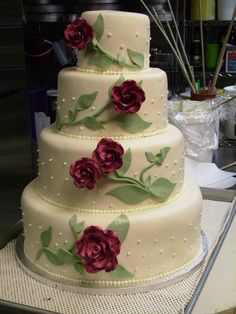 Fondant Red Rose Wedding Cake