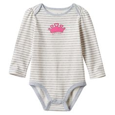 Baby Girl Jumping Beans® Striped Applique Graphic Bodysuit, Size: 3 Months, White Oth