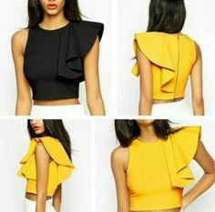Volante en blusas crop top Diy Fashion, Fashion Outfits, Womens Fashion, Fashion Design, Fashion Trends, Blouse Styles, Blouse Designs, Diy Clothes, Clothes For Women