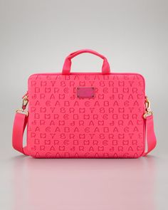 Dreamy Logo Neoprene Commuter Laptop Bag, Pop Pink by MARC by Marc Jacobs at Neiman Marcus.