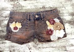 Cowgirl Country Chic Jean Shorts Womens embellished Shabby chic shorts Dusty Brown Rodeo Funky Womens clothing