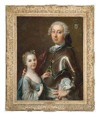 Double portrait of a gentleman in armor wearing the Order of Saint Nicholas the Wonderworker, and his daughter in a light blue dress