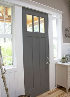 Front door color - B Moore Kendall Charcoal door with Behr All in One Studio Taupe and B Moore White Dove trim - The Inspired Room Off White Paint Colors, Warm Gray Paint, Off White Paints, Paint Colours, Dark Colors, Grey Front Doors, Painted Front Doors, Gray Front Door Colors, Front Door Side Windows