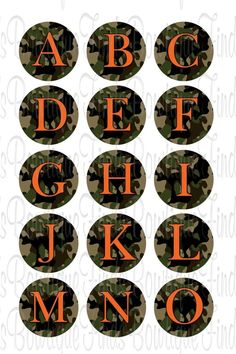 "CAMO ORANGE DEER ABC.. U PRINT.. 1"" Bottle Cap Images Sent To You... U PRINT"