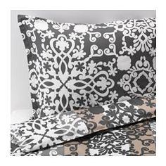 PRAKTTRY Duvet cover and pillowcase(s), gray/white medallion, beige - medallion - Full/Queen (Double/Queen) - IKEA