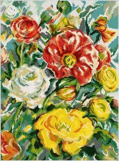 """Схема для вышивания бисером """"Акварельные розы"""" полную зашивку бисером -"""