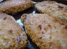 Baked Parmesan Encrusted Pork Chops! Omg they're so good! I made them tonight and everyone devoured them! I used boneless center cut chops. I flipped them after 15 minutes, baked 10 more, then broiled for 3 min on each side to make them extra crisp! I'm eating my 2nd one as I post this.