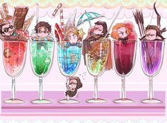 The Avengers and their respective drinks... Bucky, though XD