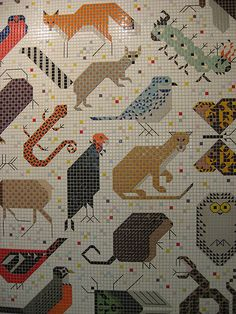 Charlie Harper mural in Cincinnati -- This would be a great needlework or cross stitch pattern. Charley Harper, Organic Art, Mosaic Crafts, Diy Embroidery, Quilting Designs, Needlepoint, Cross Stitch Patterns, Needlework, Tapestry