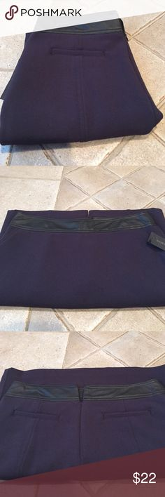 """Brand New With Tags Worthington Skirt Navy blue with black faux leather at the top  front pockets zipper in the back. Shell is 63% polyester  33% rayon 4% spandex  lining is 100% polyester   Length is 21""""  across the top laying flat is 16""""  middle is 19"""" and bottom is 18"""" Worthington Skirts"""