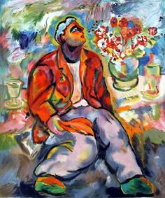 Sandro Chia Title: Untitled - Portrait with Flowers Year: circa 1989