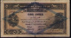 LEBANON BANK AND SYRIA 1939 COLORFUL RARE 5 LIVRES RARE OFFER