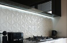 Carrara white hex mosaic - (photo credit: the_untrained_eye) Kitchen Cabinets Grey And White, White Kitchen Cupboards, Kitchen Cupboard Handles, White Marble Kitchen, White Kitchen Island, Kitchen Island With Seating, Gray Cabinets, Kitchen Splashback Tiles, Splashback Ideas