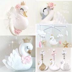 No photo description available. Swan Nursery Decor, Baby Girl Nursery Themes, Baby Mobile Felt, Baby Girl Birthday, Felt Christmas Ornaments, Crib Mobiles, Baby Decor, Creations, Crafts