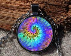 Spiral tie dye pendant Tie dye necklace Tie dye jewelry by Aranji