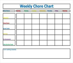 Free Weekly Chore Chart Template  How To Make Good Schedule Using