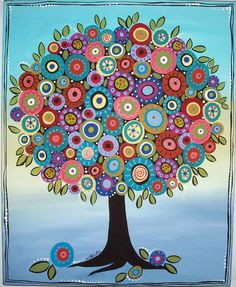 """16x20x3/4"""", Best Blooming Tree, original acrylic on stretched canvas, ready to hang, copyrighted, www.karlagerard.com Tree Of Life Painting, Tree Of Life Art, Tree Art, Dot Painting, Painting & Drawing, Karla Gerard, Happy Paintings, Mexican Folk Art, Whimsical Art"""