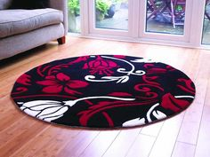 Black and red quality Modern Round Rug 135 cm / Circle Carpet Wall Carpet, Carpet Stairs, Rugs On Carpet, Tropical Outdoor Rugs, Damask Rug, Circular Rugs, White Damask, Braided Rugs, Round Area Rugs