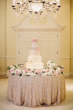 Birds of a Feather Events - Dallas/Fort Worth - sequin tablecloth - blush wedding - romantic wedding cake