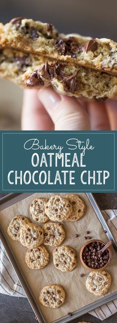 Bakery Style Oatmeal Chocolate Chip Cookies - Lovely Little Kitchen Big, thick, soft chewy Oatmeal Chocolate Chip Cookies, just like you'd find at your favorite bakery! Köstliche Desserts, Delicious Desserts, Dessert Recipes, Baking Recipes, Cookie Recipes, Oatmeal Chocolate Chip Cookie Recipe, Oatmeal Cookies, Chocolate Cookies, Chocolate Oatmeal