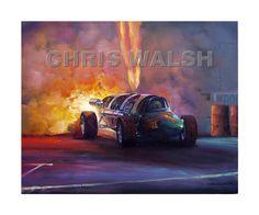 """Drag Racing Action Prints, """"Green Mamba"""", Doug Rose Jet car"""