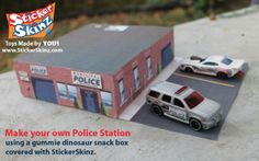 Make these yourself! Download, print and create using old packaging like snack boxes! Police Station Kit for Matchbox and HotWheels Cars