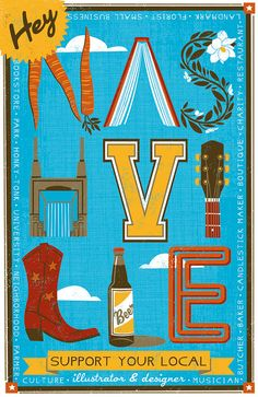 Hey Nashville- poster design. $18.00, via Etsy.