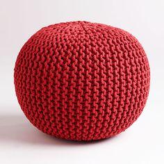 Cable Knit Pouf - Red | dotandbo.com #DotandBoHoliday