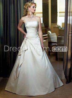 Sweeping Train Strapless Wedding Dresses Matte Satin A Line Belt