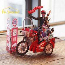 Motorcycle Bike 3D Papier Laser Cut Pop Up Handgemaakte Post Kaarten Verjaardagscadeau Wenskaarten Souvenirs Party Uitnodigingskaart(China (Mainland))
