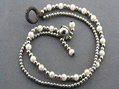 2 strand pearl bracelet - metalic Pearl Bracelet, Pearl Necklace, Beaded Bracelets, Brass, Pearls, Sterling Silver, Metal, Unique, Gifts