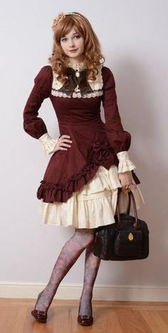cream and maroon, knee-length rendition of more elegant times