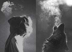 She grasped air at night and exhaled it heavily like a wolf, with courage shamelessly crying loud for love