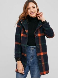 Product Pom Pom Hood Checked Faux Wool Coat available for Zaful WW, get it now ! Cute Winter Coats, Violeta By Mango, Winter Outfits For Work, Womens Fashion For Work, Manga, Wool Coat, Coats For Women, Plus Size Fashion, Fashion Outfits