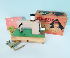 Now in my Etsy shop! This darling Sew-ette sewing machine was manufactured in the 1960s by Toyland, G.B.C. Toys of Japan.