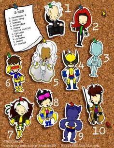 XMEN Cute hand cut stickers. Professor X Jean Grey by BantamBB, $1.50