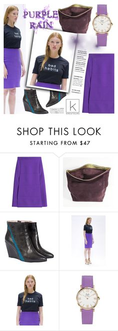 """Purple Rain!"" by kreateurs ❤ liked on Polyvore featuring Victoria, Victoria Beckham, Boots, Tshirt, pouch and kreauters"