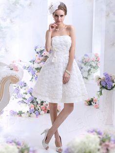 ウェディングドレス Aライン ビスチェ 膝長さ アイボリー 二次会ドレス B22307
