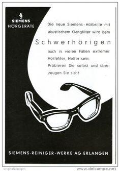 Original-Werbung/Inserat/ Anzeige 1957   SIEMENS-HÖRGERÄT-BRILLE - ca. 90 X 100 mm