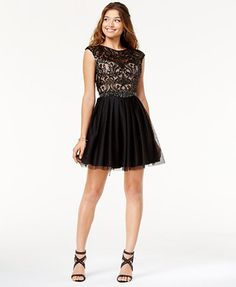 aa843b7f313 Say Yes to the Dress Juniors  Open-Back Sequined Dress